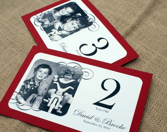 RESERVED for Heather - Through the Years - Personalized Photo Table Numbers by Age or Year - Custom Colors - Set of 19