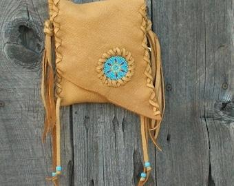 ON SALE Leather phone bag , Beaded crossbody handbag , Fringed leather purse . Leather handbag