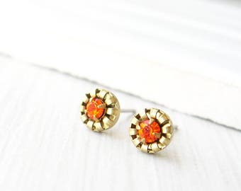 Small Brass Post Earrings - Orange Crystal Studs, Fall Jewelry, Autumn, Gold Tone, Simple, Titanium, Vintage Components