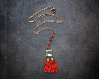 Red Tassel Necklace Vintage Assemblage Square Chandelier Crystal Rosary Chain Antique Gold Upcycled Repurposed Jewelry Boho Grenadine