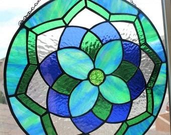 FLASH SALE STAINED Glass Suncatcher -Blue Green Decorative Glass Panel, Large Suncatcher, Mandala Decoration, Round Medallion, Home Window D