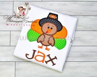 Thanksgiving Pilgrim Turkey Shirt - Custom Thanksgiving Shirt - Baby Boy Holiday Outfit - Baby First Thanksgiving