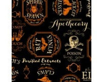 Under a Spell from Wilmington Prints - Full or Half Yard Orange and Tan Halloween Labels on Black - Apothecary Labels