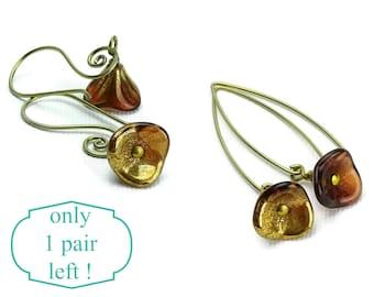 Bronze Colored Flowers on Niobium Earrings, Hypoallergenic Earrings for Sensitive Ears, Gold Mauve Flower, Gold colored Niobium No Nickel