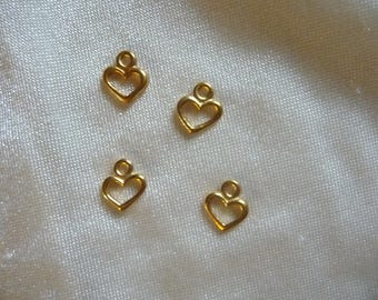 Charms, 10x8mm Gold Open Heart.  Sold per pack of 4.