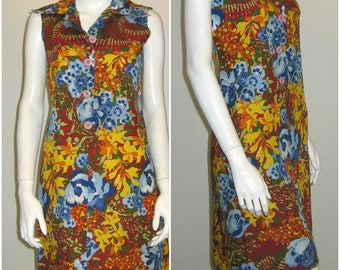 colorful flowers 70s vintage huge buttons  dress