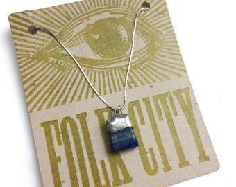 Healing Crystal Gem Necklace with Lapis Lazuli Pendant