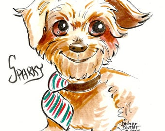Custom Detailed Watercolor Brush-Pen Pet Caricature from your Photo