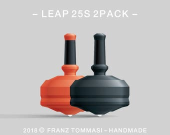 LEAP 25S 2PACK Orange-Black – Value-priced set of precision handmade polymer spin tops with ceramic tip and rubber grip