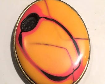 Bright Abstract Pendant Necklace . Oval . Polymer Clay . Mokume Gane