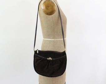 70s purse - suede leather shoulder bag - chocolate brown 1970s purse