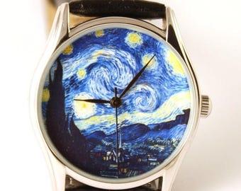 ON SALE 25% OFF Van Gogh Starry Night Watch, Classical Wrist Watch, Watches, Wristwatch, Ladies Watch, Anniversary Gift, Gift Idea
