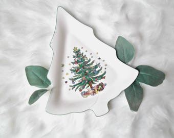 Vintage Christmas Tree Plate, Christmas Cookie Plate, Ceramic Christmas Tree Platter, Nikko Japan Plate, Rustic Christmas, Hostess Gift