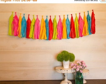 ON SALE TODAY Assembled Big Top Circus Tassel Garland Tissue Paper Tassels Garland Kit Choose your  quantity Sets of 6 to 50