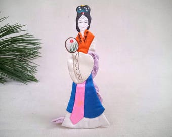 Vintage Chinese Goddess Hand Painted Silk Fabric and Paper Doll Ornament, Chinese New Year Ornament, Chinese Female Goddess for Good Luck