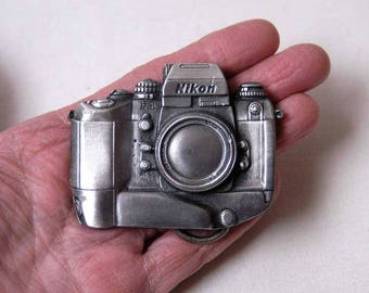 Nikon Camera Belt Buckle, Limited Edition, Vintage 1990s, Nikon F4 35mm SLR Camera Buckle, NAS, Nikon Advanced System Advertising, Gift