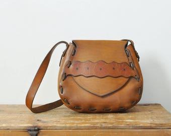 Vintage Tooled Leather Shoulder Purse Hippie Boho Flower Bag