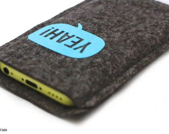 Felt sleeve for iPhone 6, 6 s or 7 - yeah! -Mobile-ash wool felt