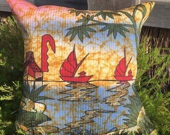 Bali Hand Painted Batik Scene Pillow Cover