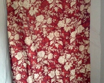 19C Antique French Fabric, Vintage Curtain Panel / Floral Cotton Faded Textile Red Indiennes Fabric  - French Home Decor 1pc