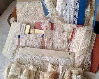 Antique Laces Lot/ Vintage Lace Trims Bobbin, Needlepoint /10 cards & two bundles Dolls Bears Period Costume Vintage Wedding Something Old