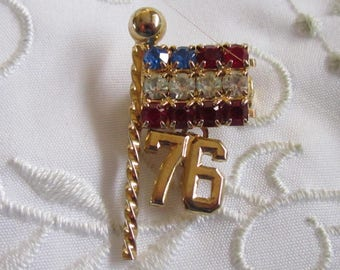 Vintage Red White and Blue Rhinestoned Flag Pin with 76 On It