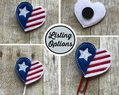 American Flag Heart Feltie/Stitchie, Magnet, Personal Planner Clip/Bookmark, Page Marker, Cupcake Topper