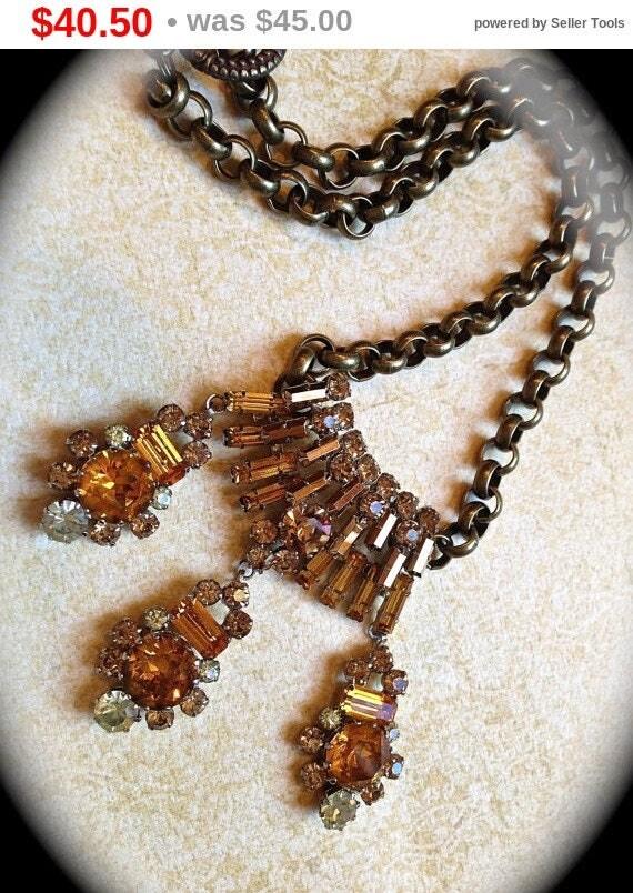 Summer Sale HOLD Amber statement necklace- vintage jewelry dangle necklace- Vintage Orange Bridal Necklace Choker, Mid Century Bridal Rhi...