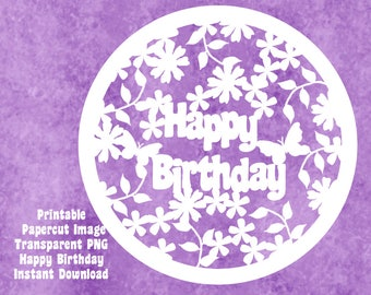 Papercut Template, Cutting Machine Clipart, Floral Birthday, Instant Digital Download