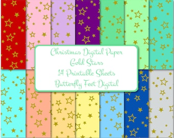 Christmas Digital Paper, Christmas Gold Stars, Printable Card Making, Gift Tags, Holiday Paper Crafting, Instant Download