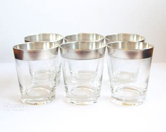 6 Dorothy Thorpe Silver Band Double Old Fashioned Low Ball Rocks Tumblers Mid Century Modern Mad Men