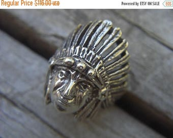 ON SALE Indian chief ring in sterling silver