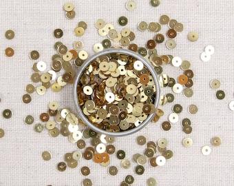 Sequins & Beads // Gold Metallic Beads, Gold Seed Beads, 4mm Flat Sequins, Sequin Appliqué, Felt Embellishment, Glass Beads Size 11