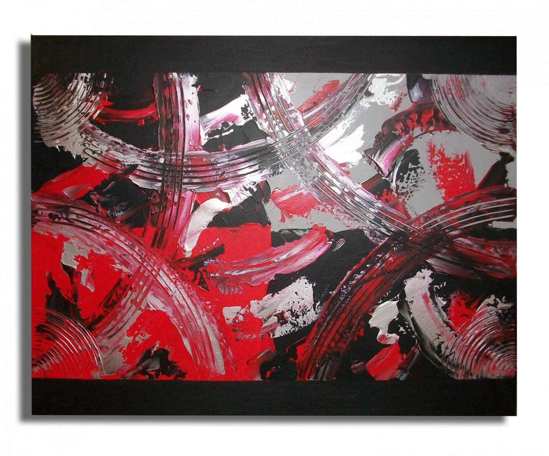 tableau toile rouge gris noir art contemporain moderne. Black Bedroom Furniture Sets. Home Design Ideas