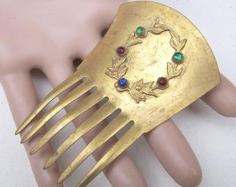 Victorian gilded metal hair comb, hair accessory, headdress, headpiece hair pin hair pick decorative comb
