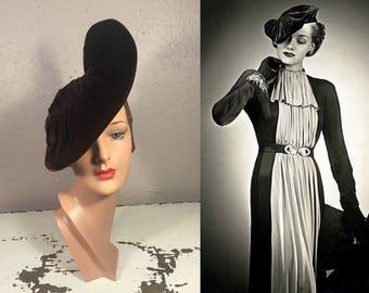 A Slight Turn of the Head - Vintage 1930s Espresso Brown Silk Velvet Flat Slouch Beret Hat
