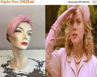 Anniversary Sale 35% Off By The Silvery Moon - Vintage 1950s Shell Pink Feather Fascinator Hat w/Rhinestones