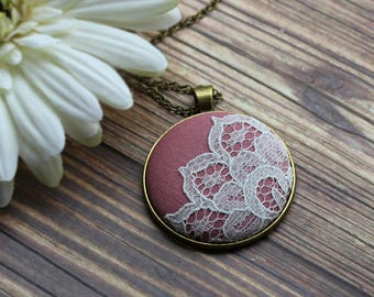 Blush Pink Bridesmaid Pendant, Dusty Rose Wedding, Lace Necklace, Cotton Fabric Jewelry, Unique Anniversary Gift For Women