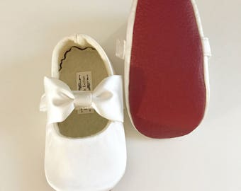 Red Bottom ivory Baby Girl Shoes Toddler Girl Shoes Red Soft Soled Shoes Wedding Shoes Satin Shoes Flower Girl Shoes Loub Inspired - Audrey
