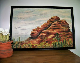 Southwest Cactus & Red Rock Mountain Oil Painting - Original Arizona Landscape - Vintage 1970 - 25 x 17 - Signed/Framed