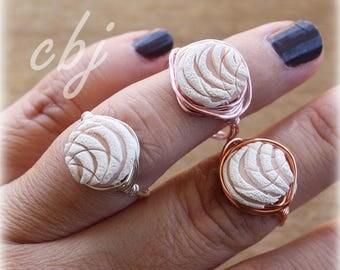 Pan Dulce Ring, Concha Ring, White Pan Dulce Ring, White Concha Ring, Wire Wrapped Ring, Handmade