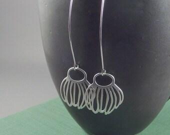 Silver Flora. Silver Flower Earrings. long earrings. dangle earrings. drop earrings. modern earrings. flower earrings. nature earrings.