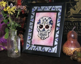 Sugar Skull Wall Art Framed Punch Needle Embroidery