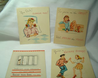 1940s Vintage New JABBERWOCKY Greeting Cards Birthday Get Well Cards.