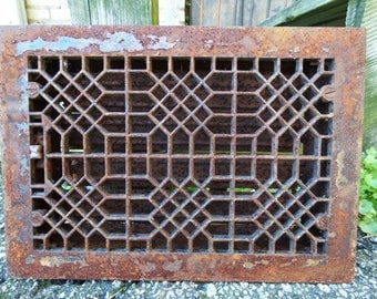 Antique Cast iron Grate Floor Wall Architectural salvage Geometric Deco Victorian Gothic Decorative