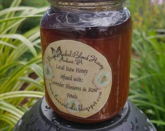 Herbal Infused Raw Wildflower Va Honey Lavender blossoms and Rosepetals *6 oz*