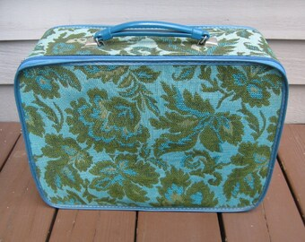 Vintage Zippered Blue Tapestry 1960s Suitcase, Carpet Bag, Brocade, Avon Cosmetics