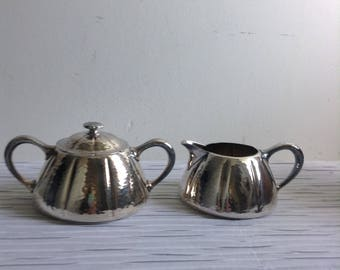 Meriden Cream & Sugar, Silverplate.  Vintage, Mission, Arts and Crafts Style.  #2402.
