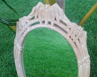 """FAUX BAMBOO MIRROR Palm Frond Accents Almost 4 Ft tall Faux Bamboo Mirror / 47"""" x 28"""" Vintage Mirror Palm Frond Mirror at Retro Daisy Girl"""