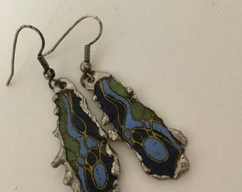 Enamel Pierced Dangle Silver Tone Earrings 1970s